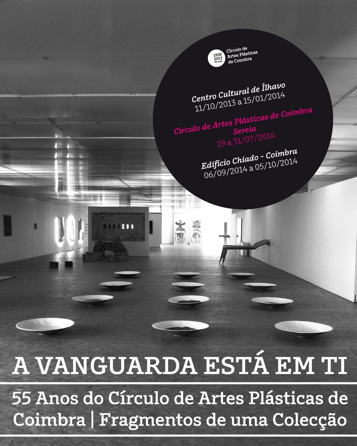 Cartaz das exposições A VANGUARDA ESTÁ EM TI, no Centro Cultural de Ílhavo, no Círculo Sereia e no Museu Municipal Edifício Chiado